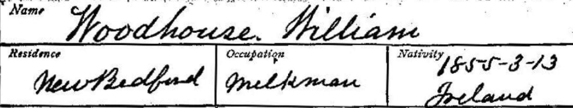 Mason Membership Card for William Woodhouse